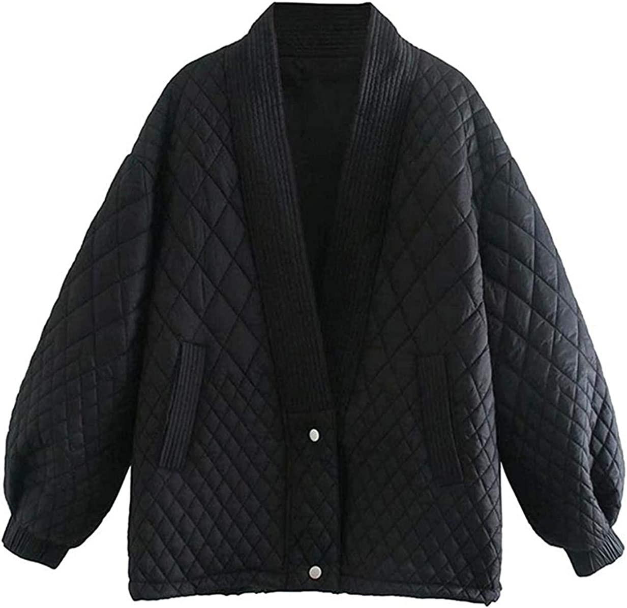 choutatou Women's Winter Oversized Diamond Cotton Quilted V Neck Coat Jacket