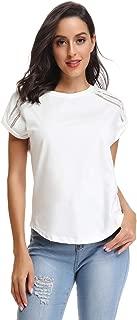 Mia Pristine Women's Shoulder Pattern Round Neck T-Shirt Blouse Tunics Tops