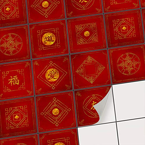 creatisto Fliesenfolie für Badezimmer Fliesen-Dekor I Dekorative Fliesenaufkleber - Küchenfliesen verschönern I Fliesensticker zum Fliesen überkleben I 10x10 cm - Motiv Chinese Tiles - 9 Stück
