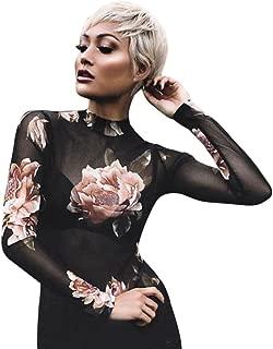 2019 New Women's Sexy Mesh Sheer Tops Long Sleeve Transparent T-Shirt Skinny Slim Blouse E-Scenery
