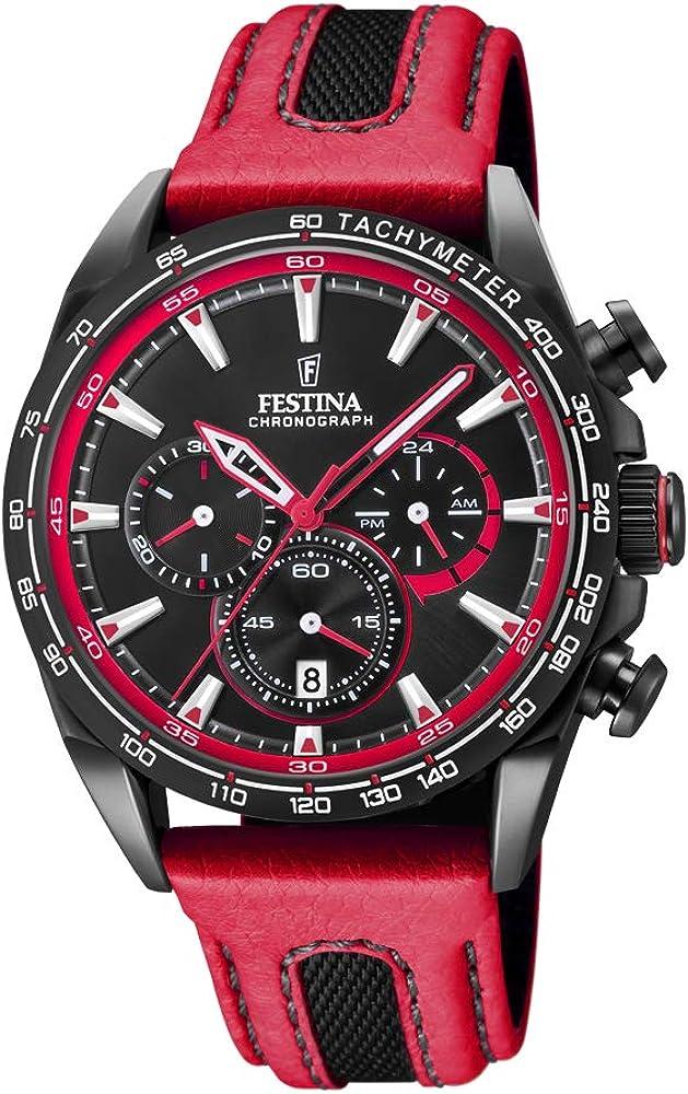 Festina orologio cronografo unisex con cassa in acciaio inossidabile cinturino in vera pelle F20351/6