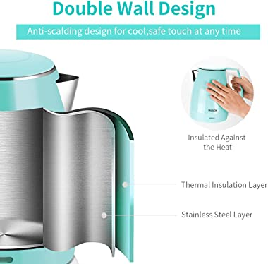 MEISON Electric Kettles Stainless Steel Interior, Double Wall Hot Water Boiler Heater, Cool Touch Electric Teapot Heater Kett