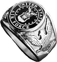 JAJAFOOK Men Titanium Steel US Air Force Military Ring Eagle Medal Rings, Silver/Gold/Black