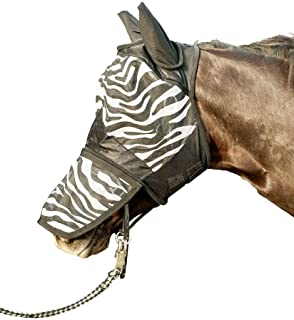 Hkm 52691291.0650 Fly Protection mask with Nose Protection, Zebra White/Black Pattern - Size Full Horse