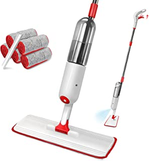 N\C Myiosus Spray Mop Water Spraying Floor Cleaner with 5 Reusable Washable Microfiber Pads and 500ml Refillable Bottle, Spray Mops for Cleaning Hardwood, Laminate, Wooden Floors