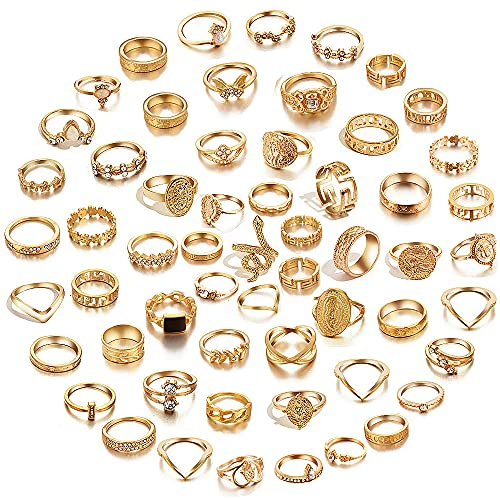 64 Pcs Vintage Knuckle Rings Set Stackable Finger Rings Midi Rings for Women Bohemian Hollow Carved Flowers Gold&Silver Rings Crystal Joint Rings (1:60 PCS Gold)