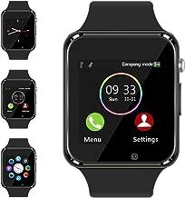 Aeifond Smart Watch Touch Screen Sport Smart Wrist Watch Bluetooth Smartwatch Fitness Tracker Camera Pedometer SIM TF Card Slot Compatible Samsung Android iPhone iOS Kids Women Men (Black)