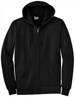 Port & Company Full Zip Hooded Sweatshirt, XL, Jet Black