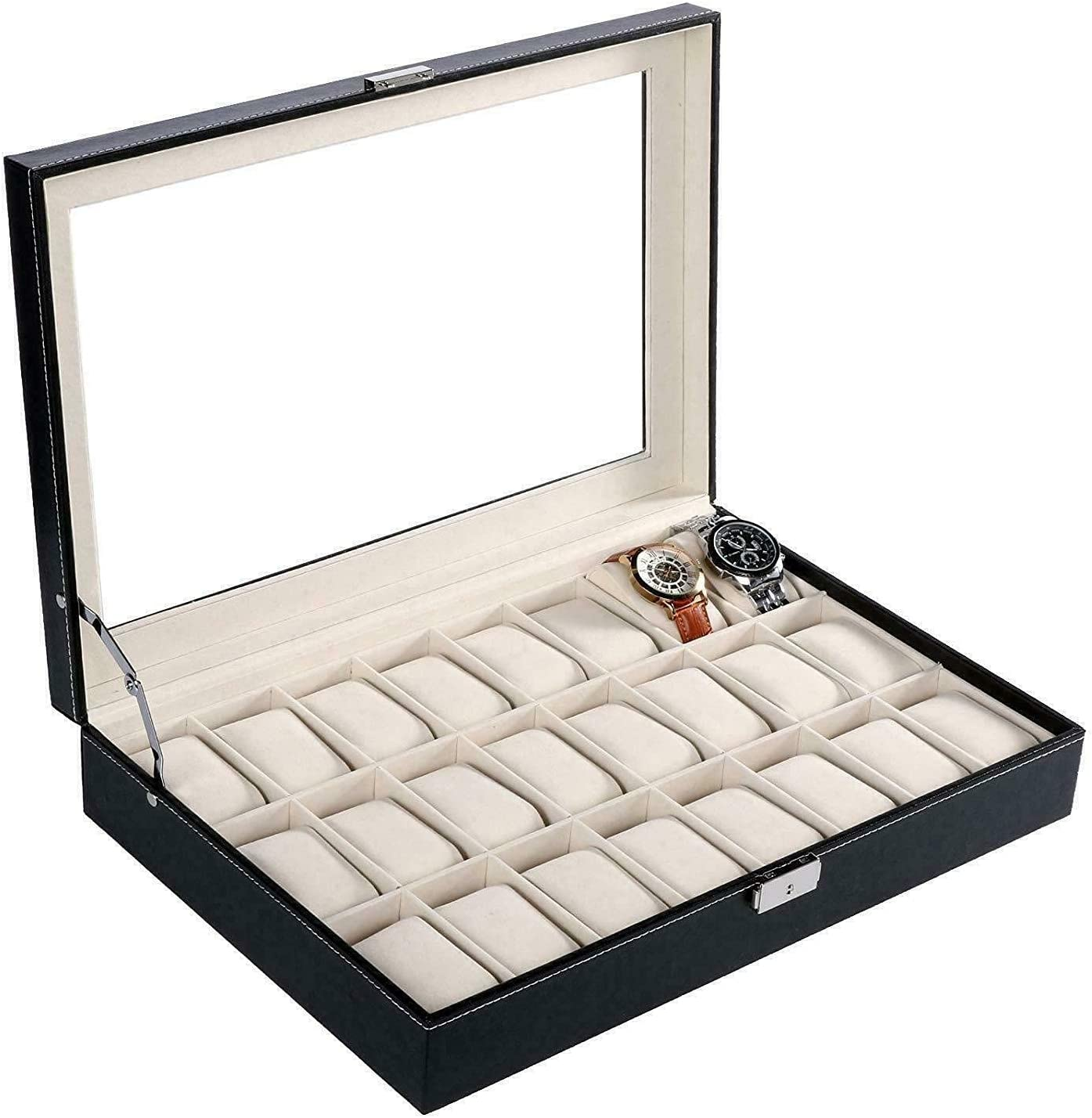 Ranking TOP8 24 Slot Leather Max 72% OFF Watch Box Jewelry Storage Space Large Organizer