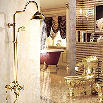 Lalaky Taps Faucet Kitchen Mixer Sink Waterfall Bathroom Mixer Basin Mixer Tap for Kitchen Bathroom and Washroom gold All-Copper Retro Hand-Held Lift