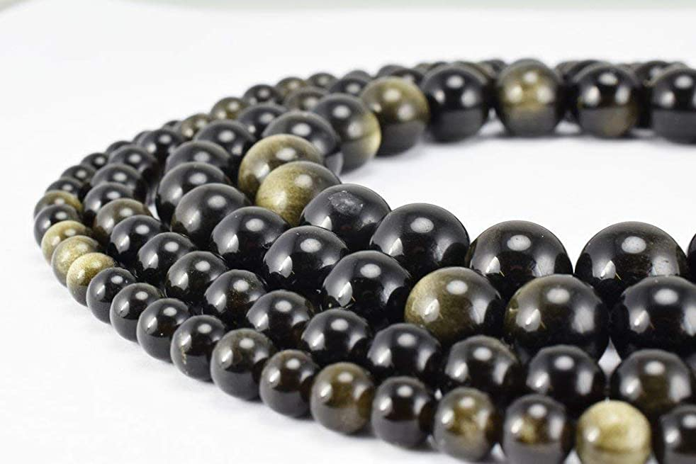 8mm Black Onyx Gemstone Round Loose Beads for Jewelry Making(47-50pcs/strand) (Black Gold Obsidian)