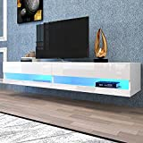 Tileon 80' Wall Mounted Floating TV Stand with 20 Color LEDs, Modern Console Table Storge Shelf for Living Room, Media Room, Entertainment Center (White)