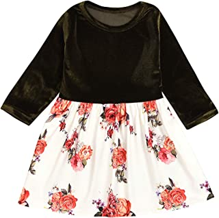 KONIGHT Kids Toddler Baby Girls Fall Dresses Outfits Floral Print Princess Party Tutu Skirt Ruffle Dress Winter Clothes