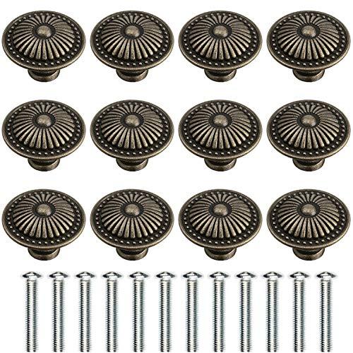 Litensh 12 Stück Vintage Bronze Schrankknäufe Ziehgriff 24 mm Messing Antik Schubladenknöpfe mit bronzefarbenem Blumenmuster rund Retro Kommode Knöpfe für Möbel Küche Tür Schrank
