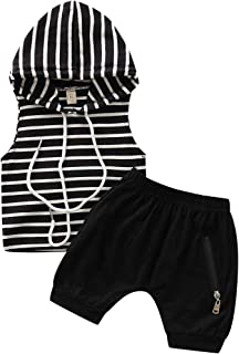 YOUNGER TREE Toddler Baby Boys Summer Outfits Short Sleeve Hoodie + Cropped Trousers Short Sets Clothing 2Pcs