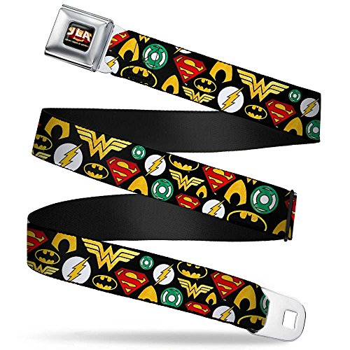Buckle-Down Seatbelt Belt - USTICE LEAGUE OF AMERICA Logo Full Color Black/Gold/Red Seatbelt Belt - Justice League 6-Superhero Logos Collage Black - 1.5' Wide - 24-38 Inches in Length