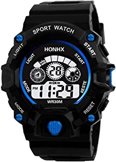 GLOBEAGLE Luminous Watch Unisex Waterproof Digital Electronic Sport Alarm Kids Watches - Blue