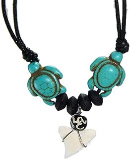 Exoticdream Sea Turtle Shark Tooth Necklace Hawaiian Surfer Ocean Beach Boys Men Girls Jewelry