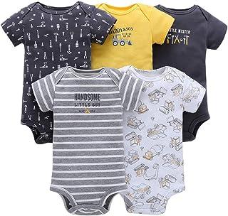 Vine 5 Pezzi Body Neonati a Manica Corta Pagliaccetto Pigiami di Cotone Neonato Tutina Set Regalo per Bambini