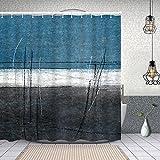 YANAIX Wasserdichter Duschvorhang,blaugraue abstrakte Kunstmalerei,Drucken von Badvorhängen mit 12 Haken 180x180cm