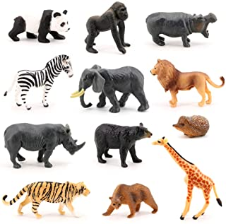Volnau Mini Safari Animal Toys 12PCS Wild Animal Figurines Miniature for Toddlers Kids Christmas Birthday Gift Plastic Animal Figures Preschool Pack