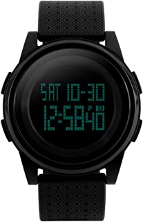 Men's Digital Sports Watch LED Screen Electronic Military Watches and Waterproof Casual Luminous Stopwatch Alarm Simple Army Watch -Black