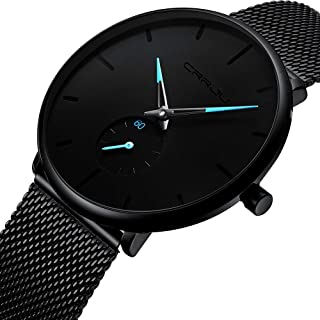 Mens Watch Deep Blue/Black Ultra Thin Wrist Watches for...