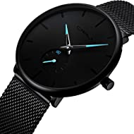 Mens Watch Deep Blue/Black Ultra Thin Wrist Watches for Men Fashion Waterproof Dress Stainless...