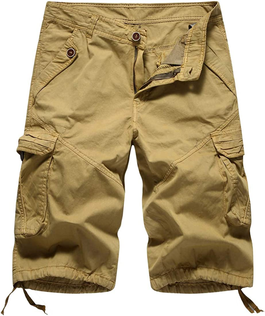 Itemnew Men's Multi Pockets Ripstop Cotton Twill Workwear Knee Length Cargo Shorts