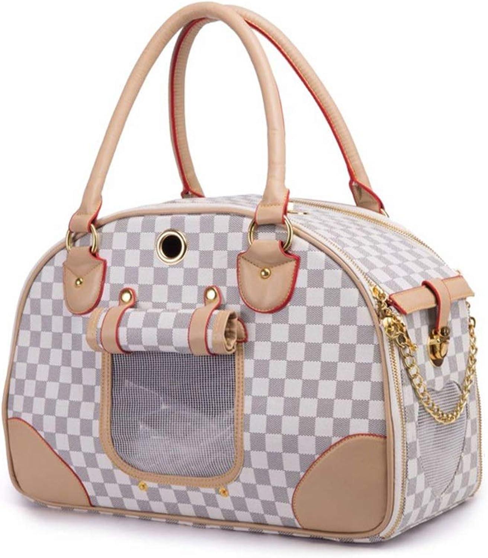 FELICIPP Pet Bag PU Backpack Pet Out Bag Portable Pet Bag (color   White, Size   L)