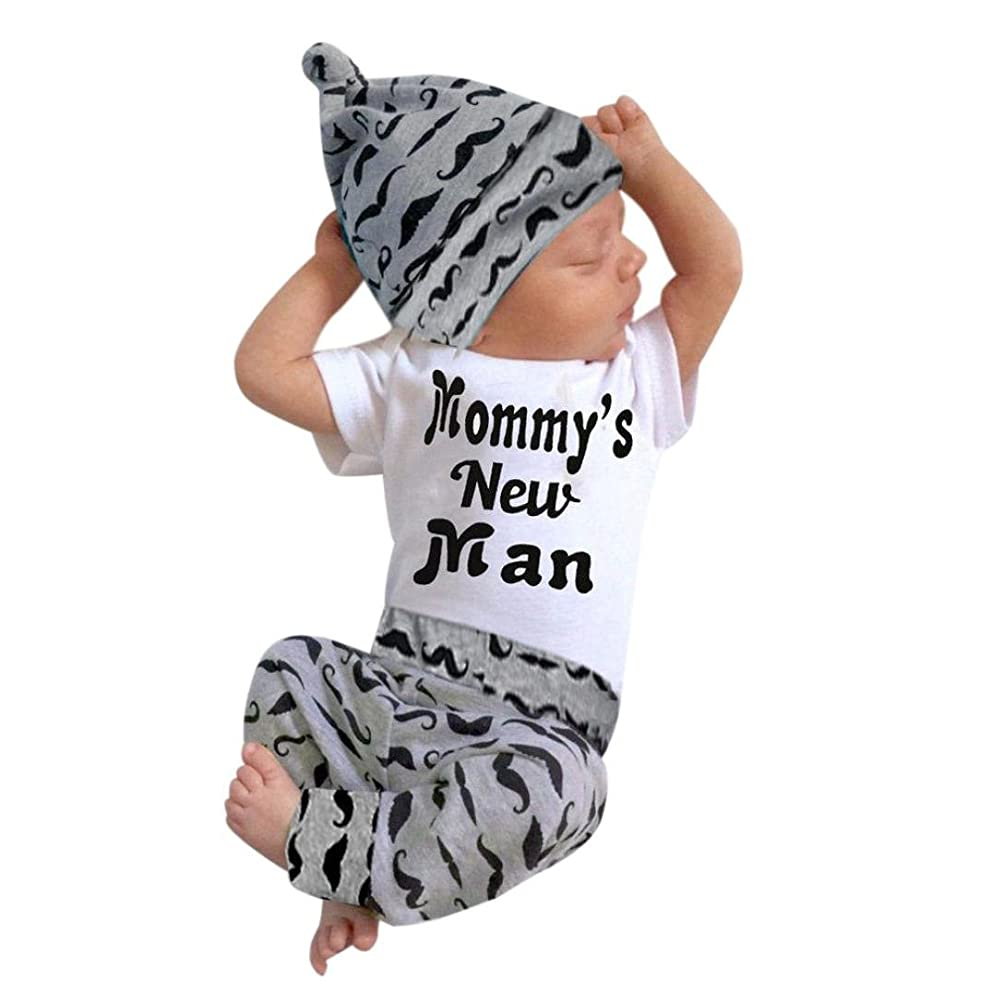 Napoo Cute 3PCS Newborn Baby Boy Romper +Beard Pants+Hat Outfits 0-18M