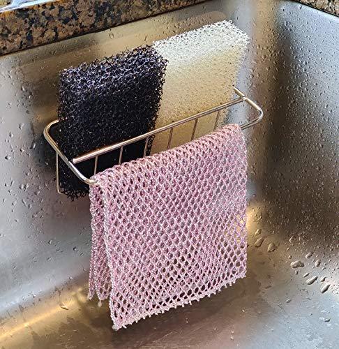2-in-1 Schwammhalter und Geschirrtuch-Aufhänger - Hält 2 Schwämme und Waschlappen - Rostfrei, Wasserfest, Edelstahl - Vielseitiger Küchenspüle Caddy & Organizer