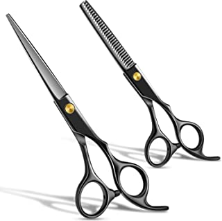 Hair Cutting Scissors Set,Hair Thinning Scissors, 6.5 Inch Professional Barber Sharp Hair Scissors and Household Hairdressing Shears Kits Hair Shear Kit 6CR 660C stainless steel (2pcs, Black)