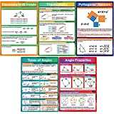 5 Pieces Math Geometry Posters Educational Angles Triangles Trigonometry Math Classroom Decor for Middle School and High School Classroom Decorations or Homeschool Supplies,16 x 11 Inch