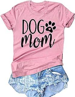 Dog Mom Shirt Dog Paw Cute T Shirt Women Letter Print Love Dogs Tees Tops Mom Gift T-Shirt