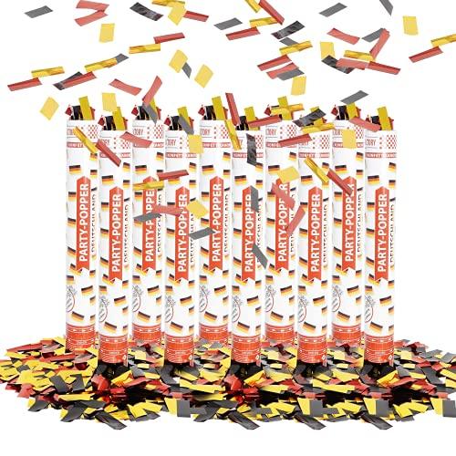 Party Factory 10 Party Popper, 40 cm, Deutschland Konfetti bis 8 m Effekthöhe, Fanartikel für WM oder EM, Länderspiele