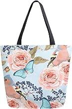 HMZXZ RXYY Blume Rose Vogel Schmetterling Segeltuch Tasche Schwer Pflicht Groß Frauen Beiläufig Schulter Tasche Handtasche Wiederverwendbar Einkaufen Tasche Bag für Draußen Reise
