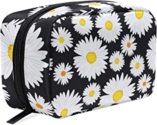 Makeup Bag Portable Travel Cosmetic White Daisy Train Case Toiletry Bag Organizer Accessories Case Tools Case for Beauty W...