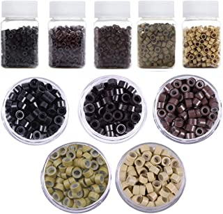Kalolary 2500PCS Micro Rings Links Beads, 5mm Silicone Micro Link Rings for Tip Hair Extensions Feather Hair Extensions Tool (5 Color)