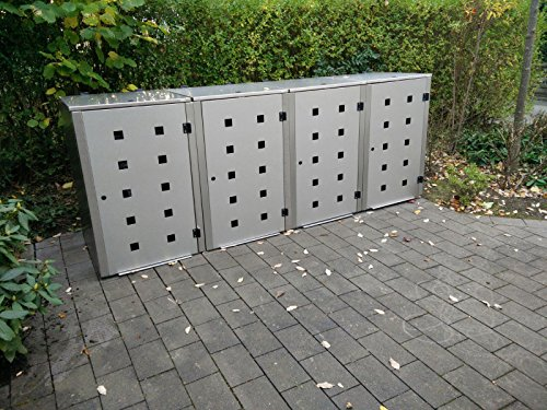 Mülltonnenbox Edelstahl, Modell Eleganza Quad5, 120 Liter als Viererbox - 3