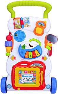 MagiDeal Kids Baby Toddlers First Step Car Multi-Function Adjustable Walker Early Developmental Toy Gift