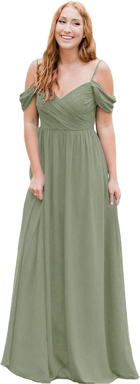 WUWIE DRESS Women's unisex Chiffon Pleated Long Off Brides Philadelphia Mall The Shoulder