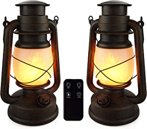 Battery Operated Lantern, 2 Pack Flame Lantern, Lanterns Battery Powered Led Decorative, Outdoor Hanging Lanterns with Remote Control Two Modes Decorative Lights for Home, Decor, Garden
