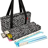 American Mahjong Set by Linda Li - Black Paisley Soft Bag - 166 Ivory Colored Engraved Tiles, 4 All-In-One Rack/Pushers