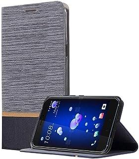 جراب أتش تي سي يو 11 HTC U11 , فليب قماشي رمادي , مكان للبطاقات , استاند لتثبيت الجهاز