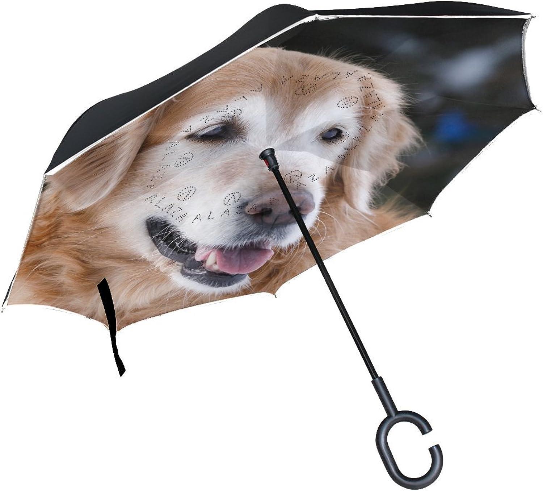 Animal Dog golden Retriever Fluffy White Yellow Mix Adorable Puppy Ingreened Umbrella Large Double Layer Outdoor Rain Sun Car Reversible Umbrella