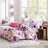 Modern Living Pink, Orange, Purple & Gray Flowers California Cal King Comforter, Shams & Toss Pillows (5 Piece Bed in A Bag)