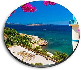 Aimants ronds en MDF Destination - Ortakent Bodrum Turquie plage pour bureau, armoire et tableau blanc - Autocollants magn...