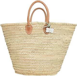 French Style Market Basket with short padded leather handles: Olivia
