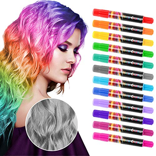 SYOSIN Hair Chalk, Hair Colorations, 12 Colors Temporary Hair Color Pen for Girls Kids, Colorful Professional Waxy, Hair Color for Halloween Makeup, Birthday Gifts, Carnival, Party, Christmas